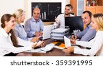 office staff gathered in the... | Shutterstock . vector #359391995