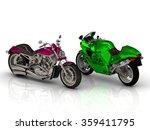 bright beautiful 2 motorcycles... | Shutterstock . vector #359411795