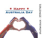 Small photo of Happy Australia Day: Australian flag pattern on people hands in heart love shaped form on isolated on white background: National public holiday celebration symbolic concept design idea