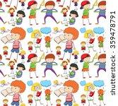seamless children reading and...   Shutterstock .eps vector #359478791