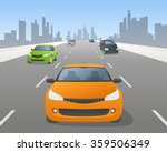 vehicles on highway  front view ... | Shutterstock .eps vector #359506349