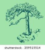 hand drawn green pine tree cute ... | Shutterstock .eps vector #359515514