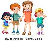 boys and girls holding hands... | Shutterstock .eps vector #359531651