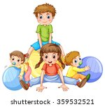 boys and girls playing with... | Shutterstock .eps vector #359532521