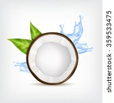 coconut with green leaves and... | Shutterstock .eps vector #359533475
