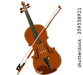 vector brown violin and bow | Shutterstock .eps vector #359558921