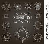 Set Of Vintage Linear Sunbursts....