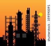 oil refinery silhouette at...   Shutterstock .eps vector #359590091