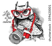Owl In Red Glasses With A...
