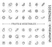 fruit and vegetables icon set | Shutterstock .eps vector #359628101