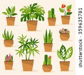 a collection of indoor plants... | Shutterstock .eps vector #359635781