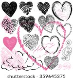 set of hand drawn hearts  ... | Shutterstock .eps vector #359645375