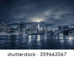 view of manhattan at night  new ... | Shutterstock . vector #359662067