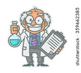 professor holding test tube and ... | Shutterstock .eps vector #359662385