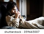 sick woman in bed calling in... | Shutterstock . vector #359665007