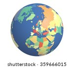political globe with colored ... | Shutterstock . vector #359666015