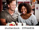 caucasian man and african...   Shutterstock . vector #35966836