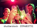 smiling friends with wine... | Shutterstock . vector #359683751