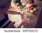 woman cooking healthy balanced... | Shutterstock . vector #359723171