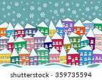 colorful packed naive village... | Shutterstock .eps vector #359735594