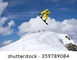 flying snowboarder on mountains.... | Shutterstock . vector #359789084