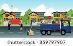employees moving furniture with ... | Shutterstock .eps vector #359797907