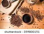coffee cup and coffee beans on... | Shutterstock . vector #359800151