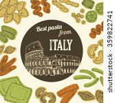 italian pasta food background ... | Shutterstock .eps vector #359822741