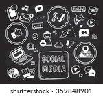 social media themed doodle on... | Shutterstock .eps vector #359848901