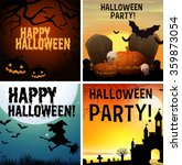 four happy halloween poster... | Shutterstock .eps vector #359873054
