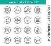 law and justice icons set   Shutterstock .eps vector #359887097