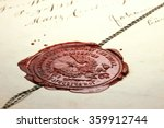 Small photo of antique notarial wax seal on old document