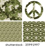 Camouflage And Peace Symbol...