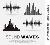 set of 4 music sound waves.... | Shutterstock .eps vector #359928311