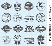 set of seafood labels and... | Shutterstock . vector #359936297