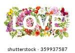 floral word love  flowers ... | Shutterstock . vector #359937587