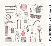 hand drawn makeup items... | Shutterstock .eps vector #359961371