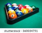 billiard balls in a pool table | Shutterstock . vector #360034751