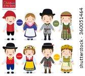 kids in traditional costume ... | Shutterstock .eps vector #360051464
