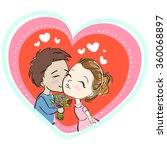cute couple in love  kiss ... | Shutterstock .eps vector #360068897