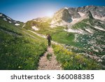 young man with backpack hiking... | Shutterstock . vector #360088385