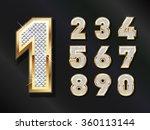 golden bling numbers . vector...