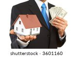 businessman with mini house and ... | Shutterstock . vector #3601160