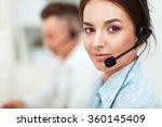 businesswoman with headset... | Shutterstock . vector #360145409