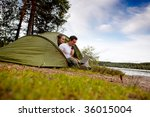 a man and woman using a... | Shutterstock . vector #36015004