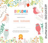 certificate diploma with floral ... | Shutterstock .eps vector #360164339