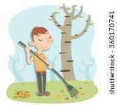 Cartoon Man Sweeping Leaves On...