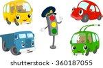 set of cartoon bus  car  lorry  ... | Shutterstock .eps vector #360187055