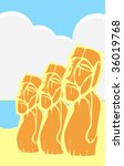 Easter Island Moai heads in a tabliod layout. - stock vector