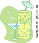 Retro styled Tiki and a dry martini. - stock vector